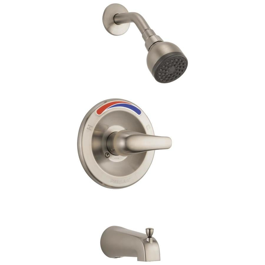 Peerless Brushed Nickel 1-Handle WaterSense Bathtub and Shower Faucet Trim Kit with Single Function Showerhead