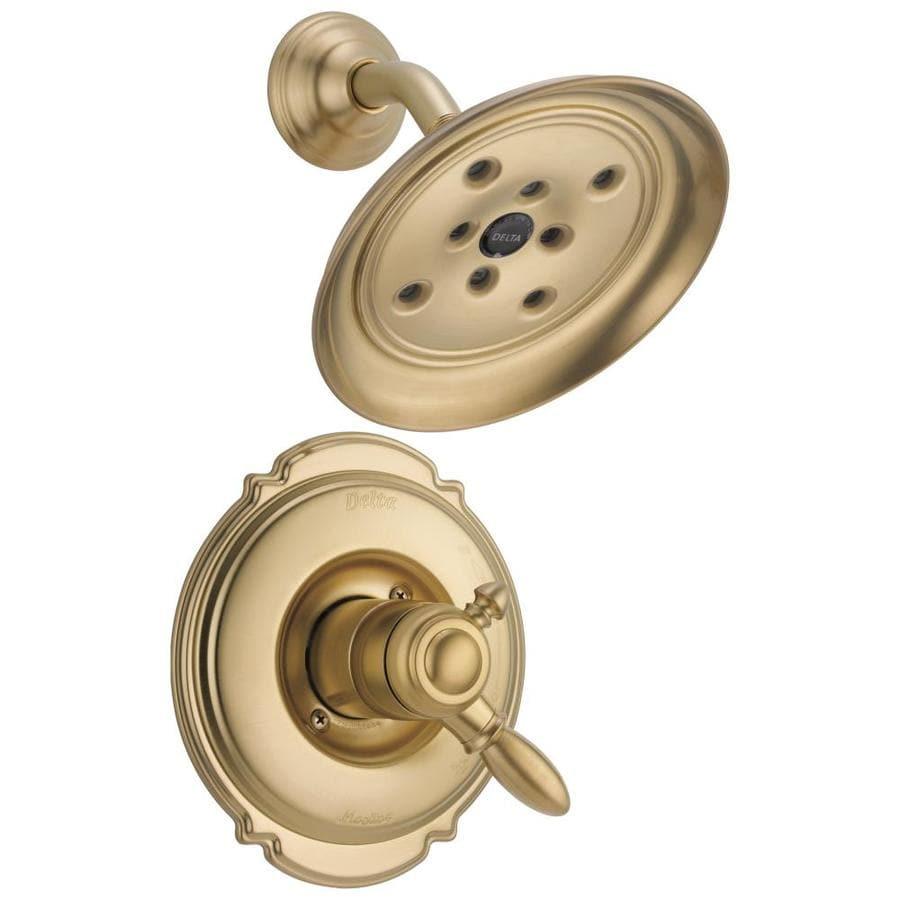 Delta Victorian Champagne Bronze 1-Handle WaterSense Shower Faucet Trim Kit with Rain Showerhead