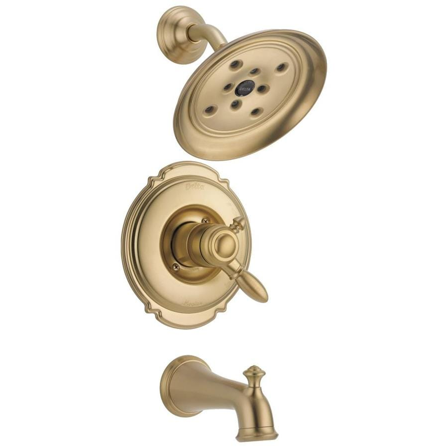 Delta Victorian Champagne Bronze 1-Handle WaterSense Bathtub and Shower Faucet Trim Kit with Rain Showerhead