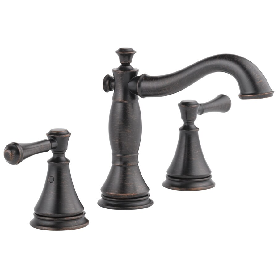 Shop delta cassidy venetian bronze 2 handle widespread bathroom sink faucet at for Delta widespread bathroom faucet