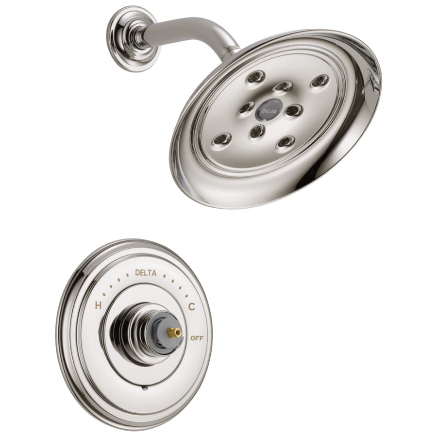 Delta Cassidy Polished Nickel 1-Handle WaterSense Shower Faucet Trim Kit with Rain Showerhead