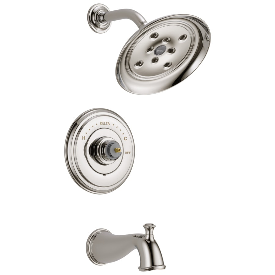 Delta Cassidy Polished Nickel 1-Handle WaterSense Bathtub and Shower Faucet Trim Kit with Rain Showerhead