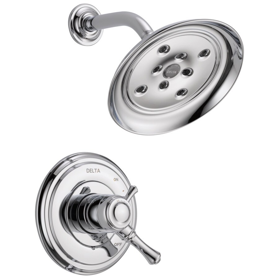 Delta Cassidy Chrome 1-Handle WaterSense Shower Faucet Trim Kit with Rain Showerhead