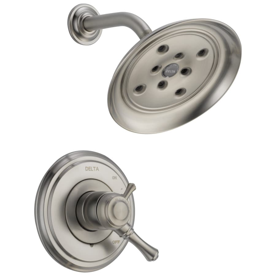Delta Cassidy Stainless 1-Handle WaterSense Shower Faucet Trim Kit with Rain Showerhead