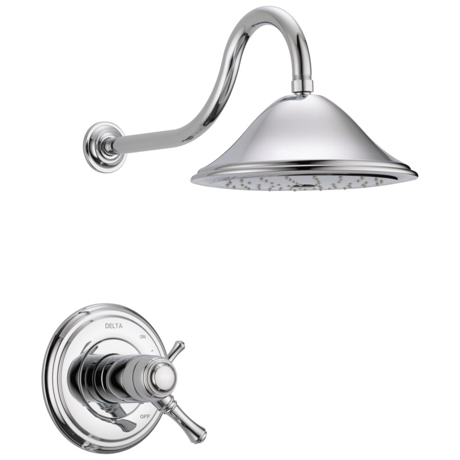 Delta Cassidy Thermostatic Chrome 1-Handle Shower Faucet Trim Kit with Rain Showerhead