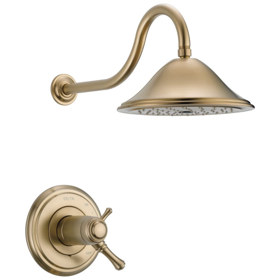 Delta Cassidy Thermostatic Champagne Bronze 1-Handle Shower Faucet Trim Kit with Rain Showerhead