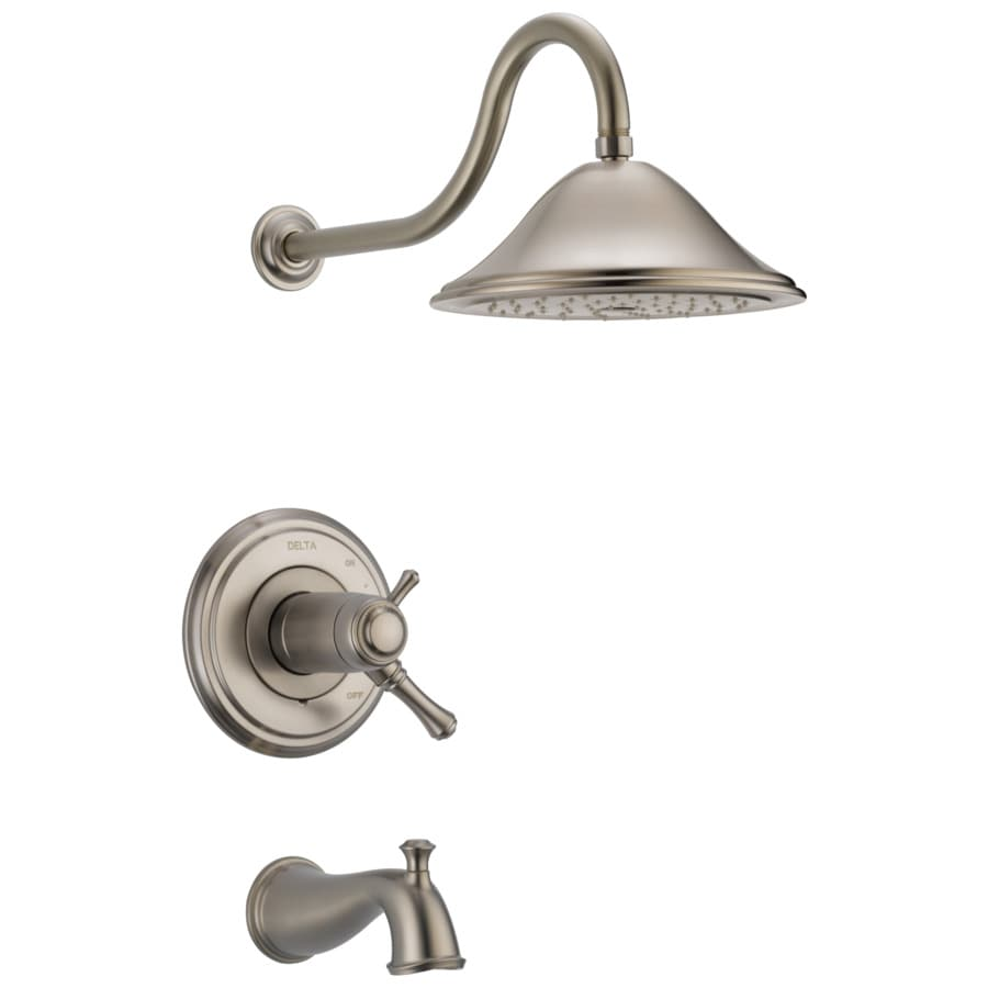 Delta Cassidy Thermostatic Stainless 1-Handle Bathtub and Shower Faucet Trim Kit with Rain Showerhead