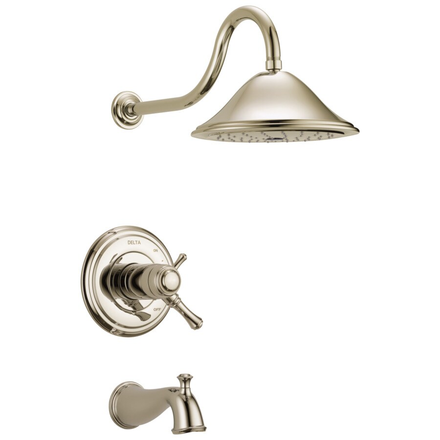 Delta Cassidy Thermostatic Polished Nickel 1-Handle Bathtub and Shower Faucet Trim Kit with Rain Showerhead