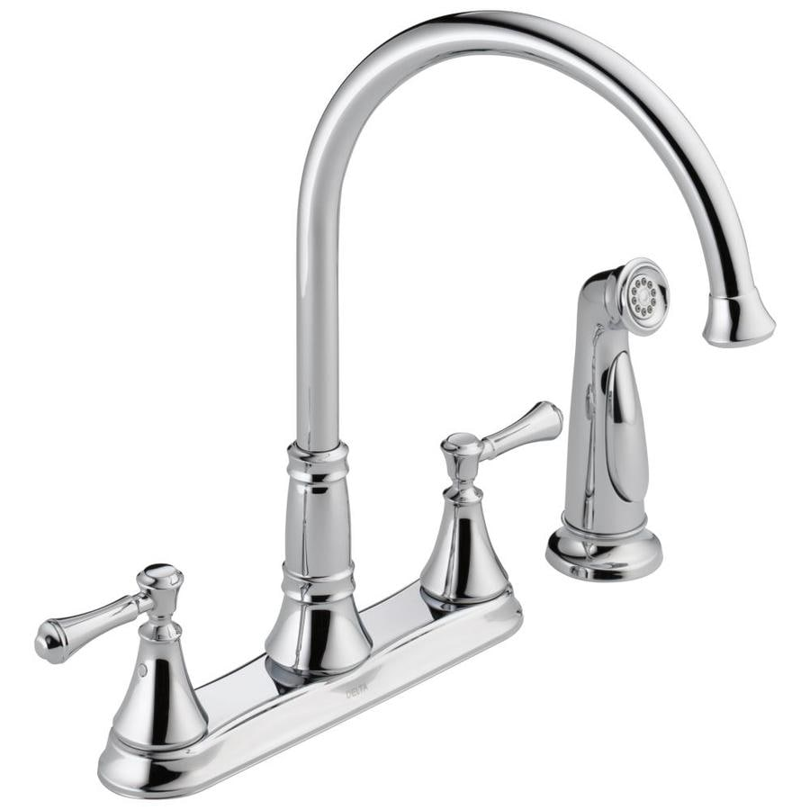 Delta Cassidy Chrome 2-Handle Deck Mount High-Arc Kitchen Faucet