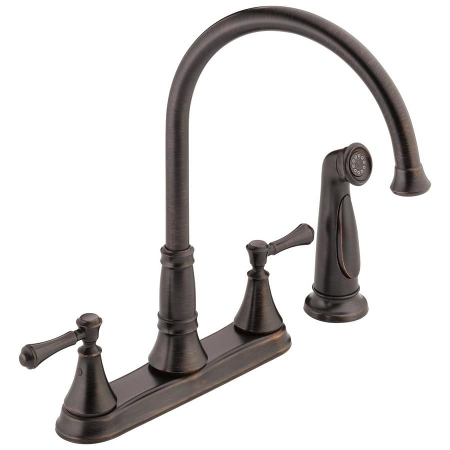 Delta Cassidy Venetian Bronze 2-handle Deck Mount High-Arc Kitchen Faucet