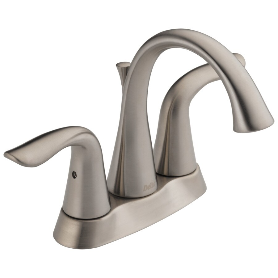 Delta Lahara Stainless 2 Handle 4 In Centerset WaterSense Bathroom Faucet  (Drain Included