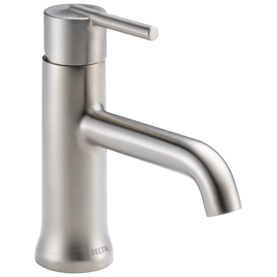 Delta Trinsic Stainless 1-Handle Single Hole/4-in Centerset WaterSense Bathroom Faucet (Drain Included)
