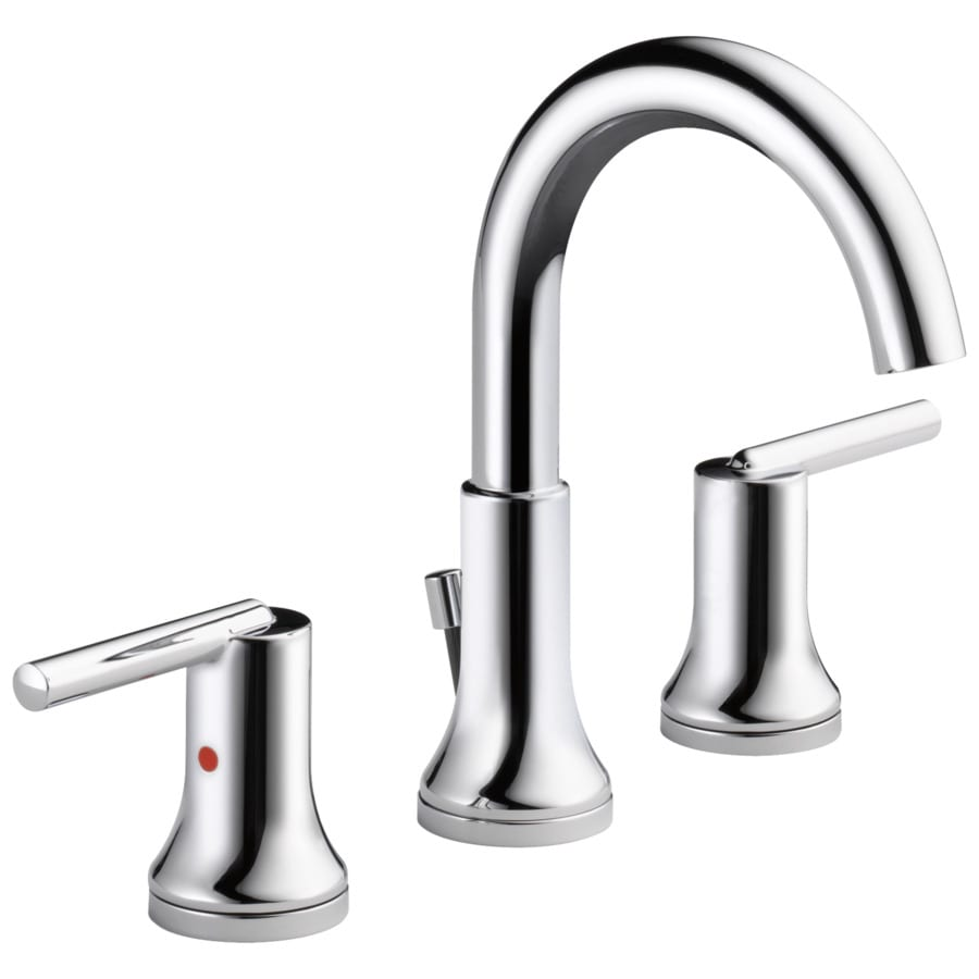 Shop delta trinsic chrome 2 handle widespread watersense bathroom faucet drain included at for Delta widespread bathroom faucet