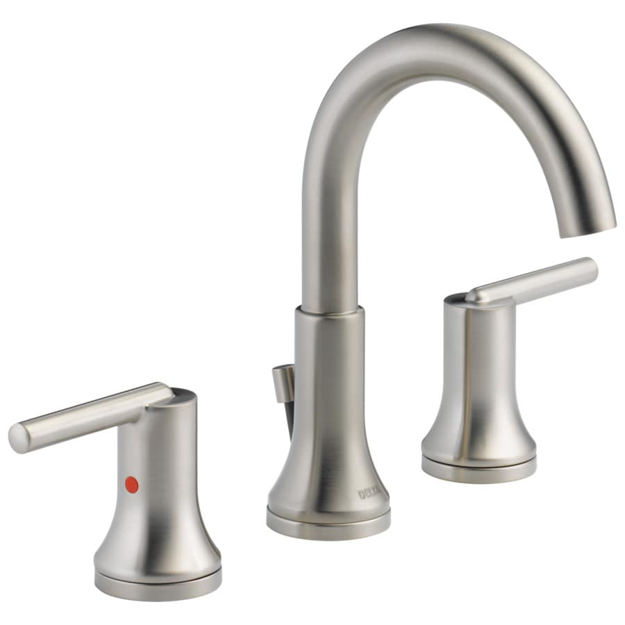 Shop delta trinsic stainless 2 handle widespread watersense bathroom faucet drain included at for Delta widespread bathroom faucet