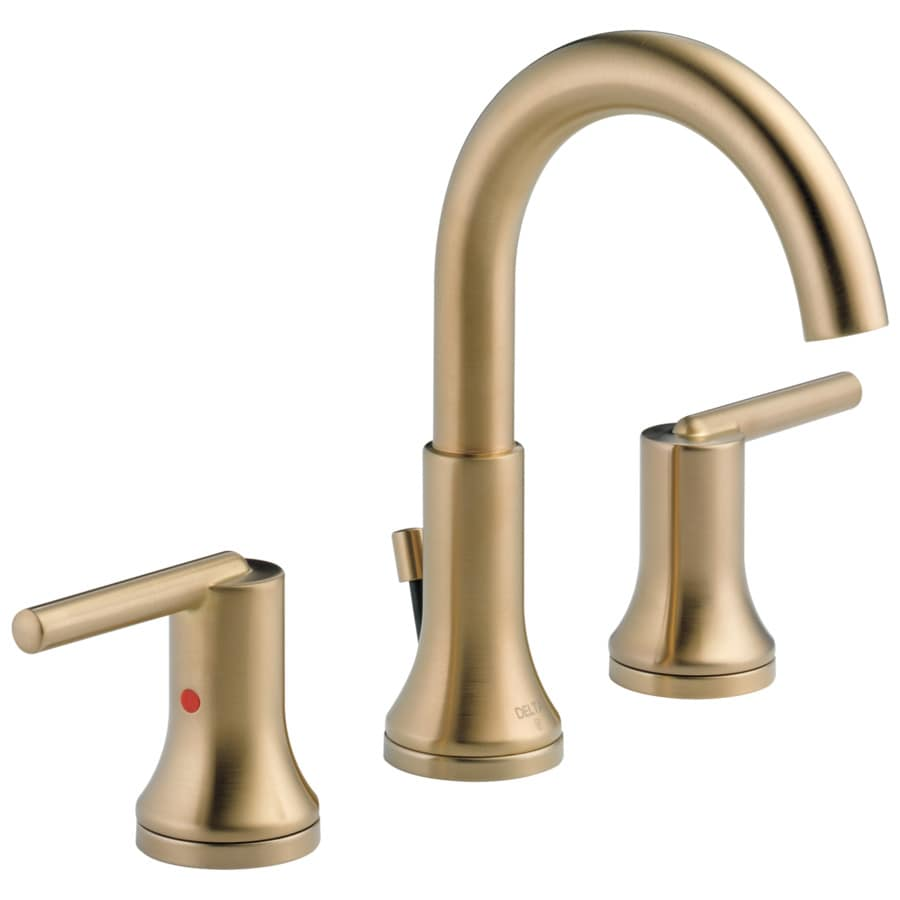 Shop delta trinsic champagne bronze 2 handle widespread watersense bathroom faucet drain for Delta widespread bathroom faucet