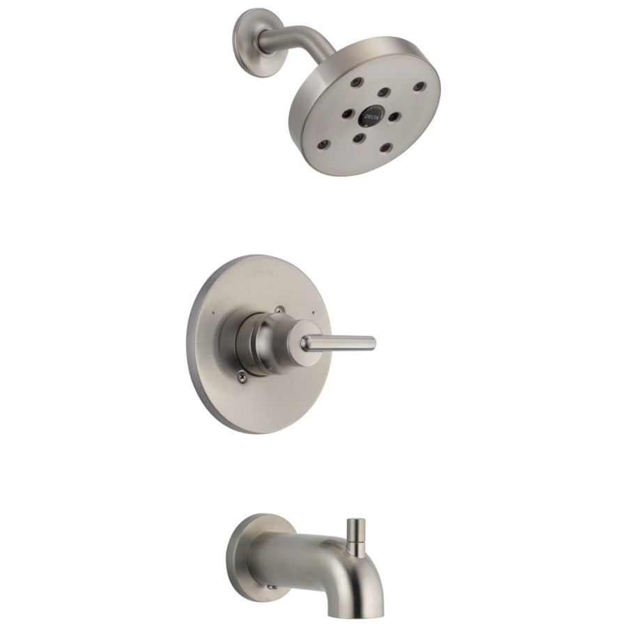 Delta Trinsic Stainless 1-Handle WaterSense Bathtub and Shower Faucet Trim Kit with Single Function Showerhead
