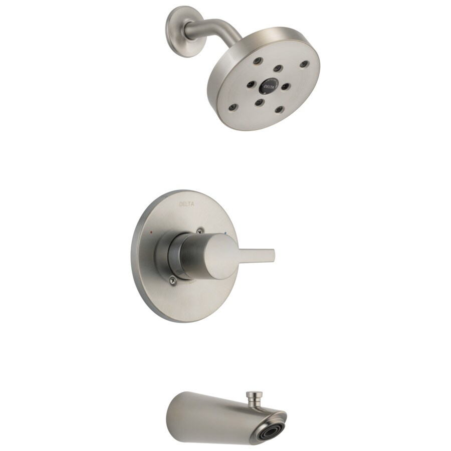 Delta Compel Stainless 1-Handle WaterSense Bathtub and Shower Faucet Trim Kit with Single Function Showerhead