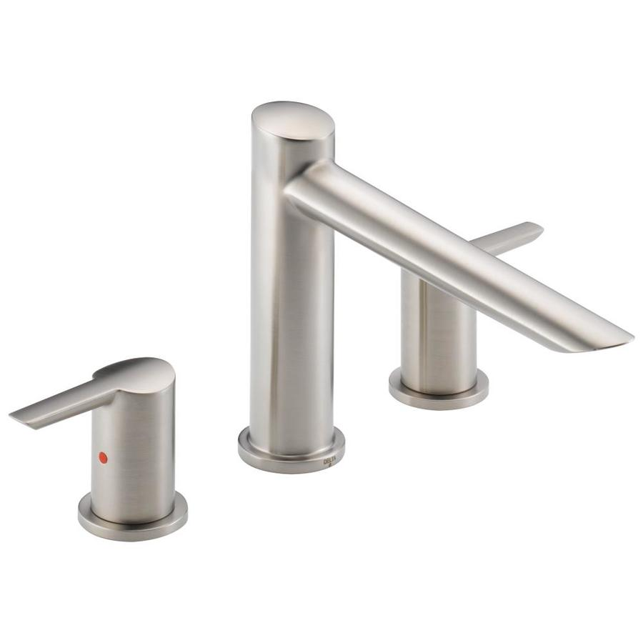 delta compel stainless 2 handle adjustable deck mount bathtub faucet