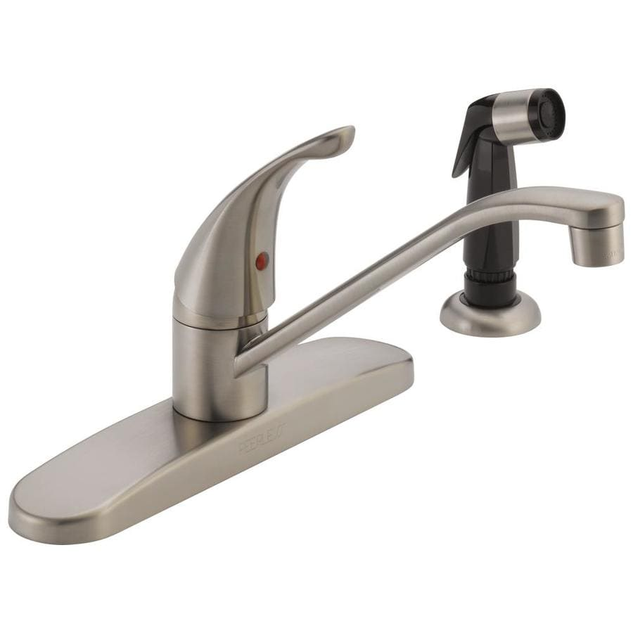Shop Peerless Core Stainless 1 Handle Deck Mount Low Arc Kitchen Faucet At