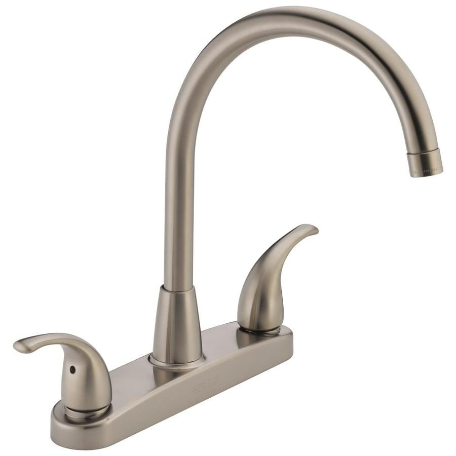 Peerless Choice Stainless 2-handle High-arc Deck Mount Kitchen Faucet