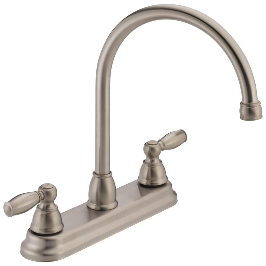 Peerless Apex Stainless 2-Handle Deck Mount High-Arc Kitchen Faucet