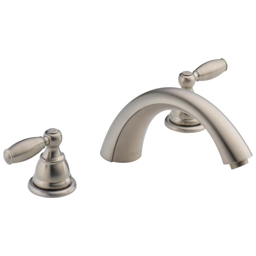 brushed nickel 2 handle fixed deck mount bathtub faucet at