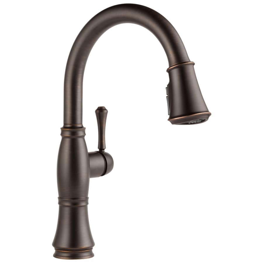 kitchen faucets shop delta cassidy venetian bronze 1 handle pull down sink counter mount kitchen faucet at lowes com 8672