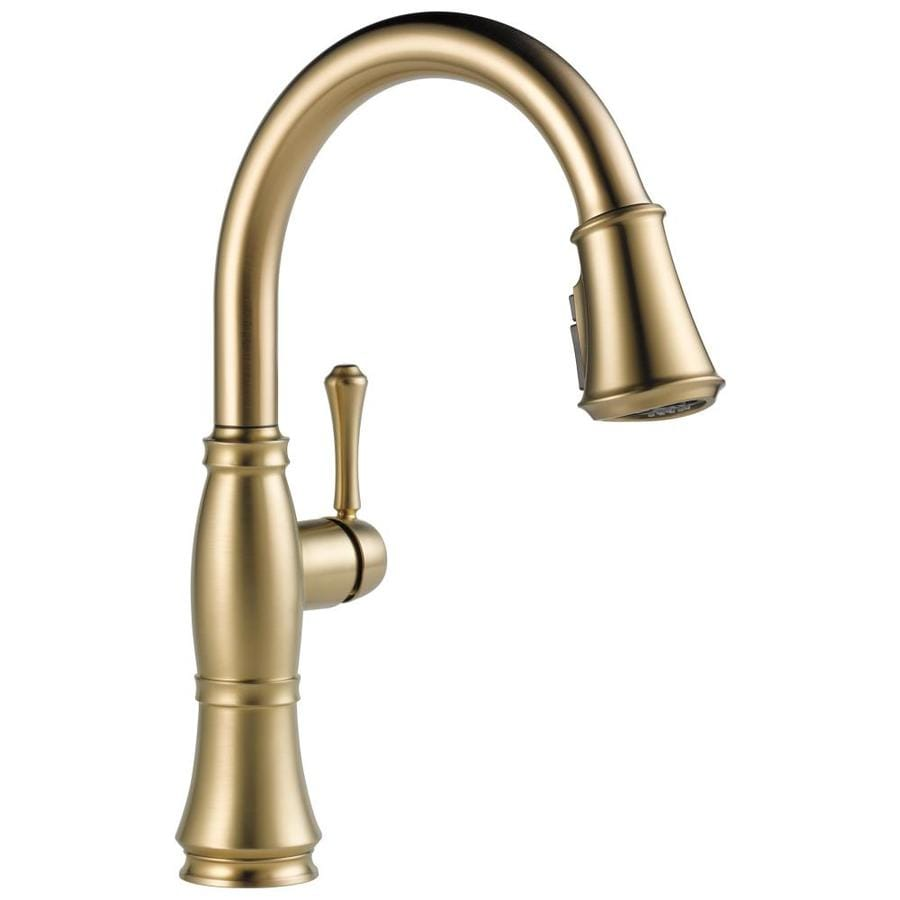 Delta Cassidy Champagne Bronze 1-Handle Deck Mount Pull-Down Kitchen Faucet