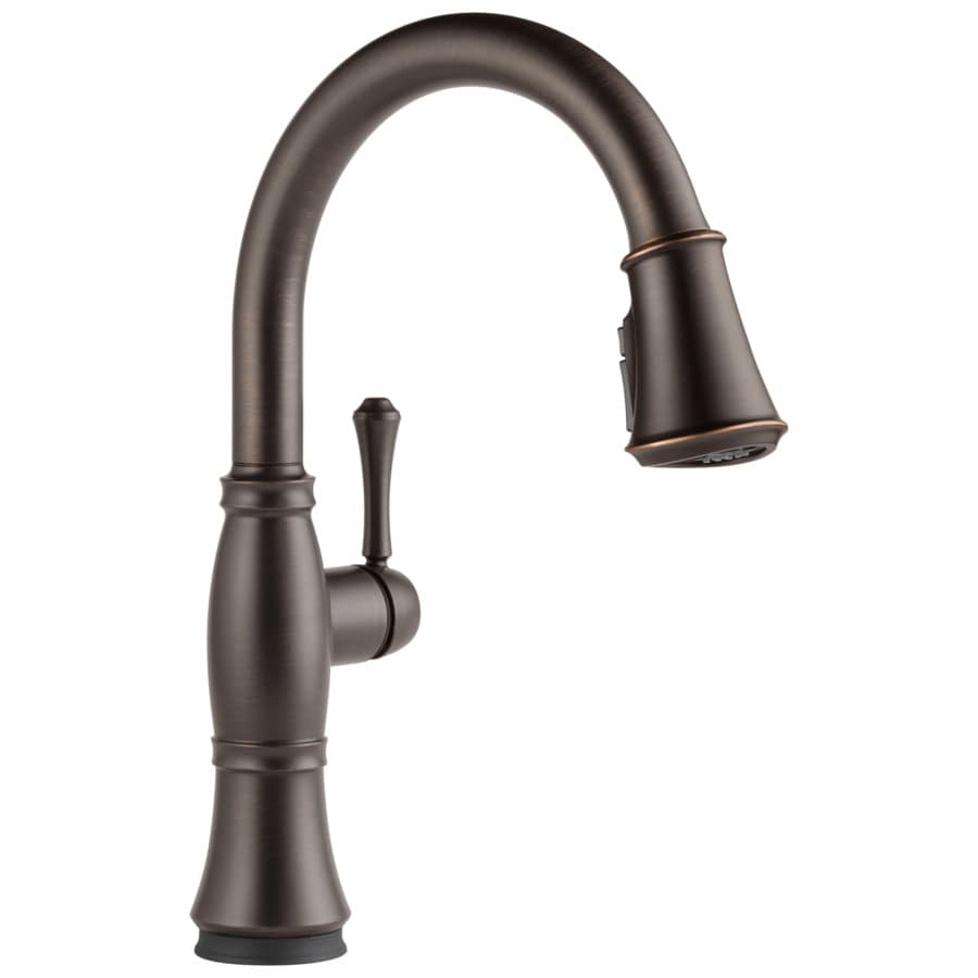 touch kitchen faucets shop delta cassidy touch2o venetian bronze 1 handle pull down touch kitchen faucet at lowes com 3228