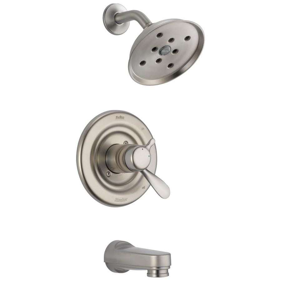 Delta Classic Stainless 1-Handle WaterSense Bathtub and Shower Faucet Trim Kit with Single Function Showerhead