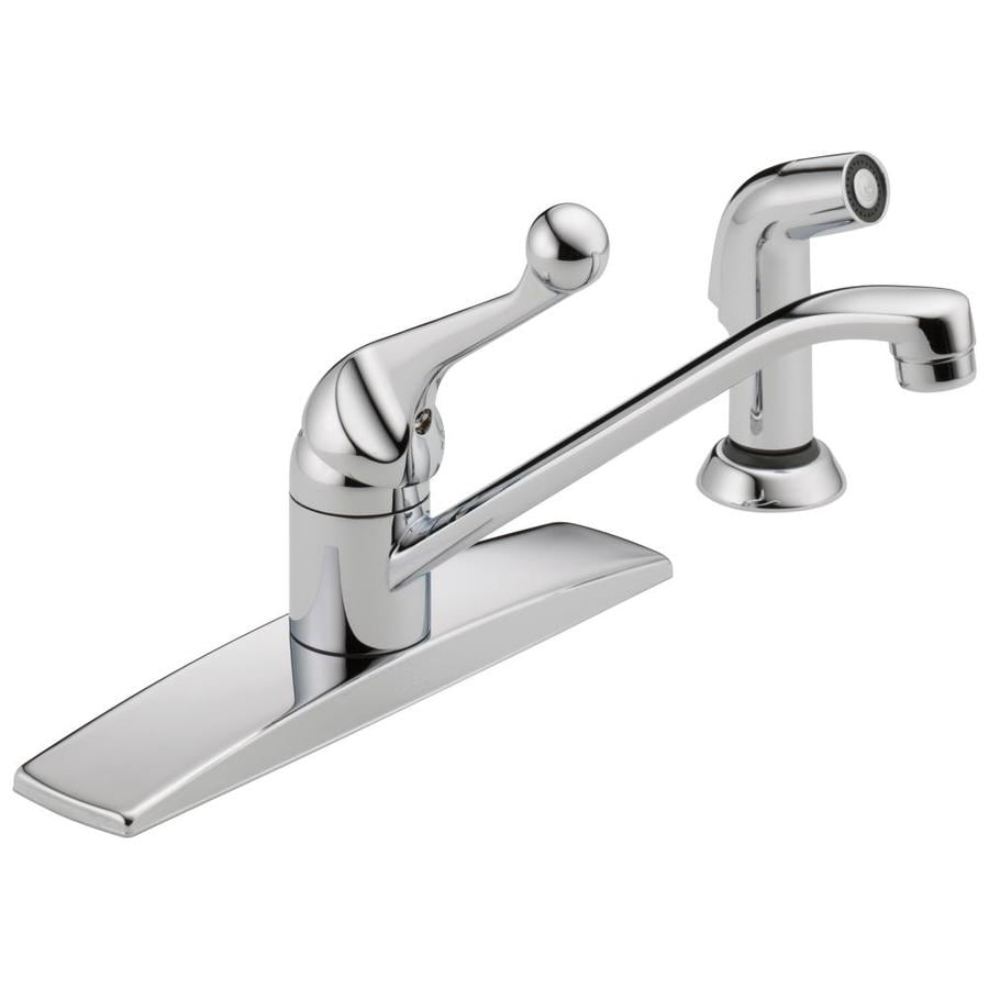 Awesome Delta Classic Chrome 1 Handle Deck Mount Low Arc Kitchen Faucet