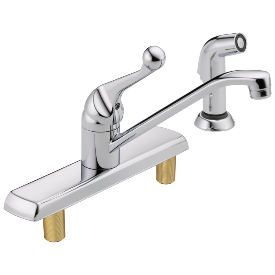 Shop Delta Classic Chrome 1-Handle Deck Mount Low-Arc Kitchen Faucet ...