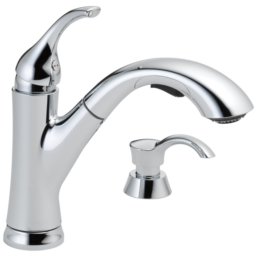 Elegant Delta Kessler Chrome 1 Handle Deck Mount Pull Out Kitchen Faucet