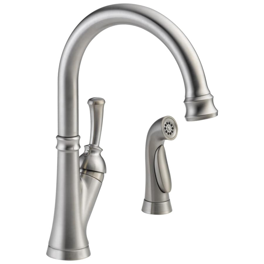 delta savile stainless 1 handle deck mount high arc kitchen faucet