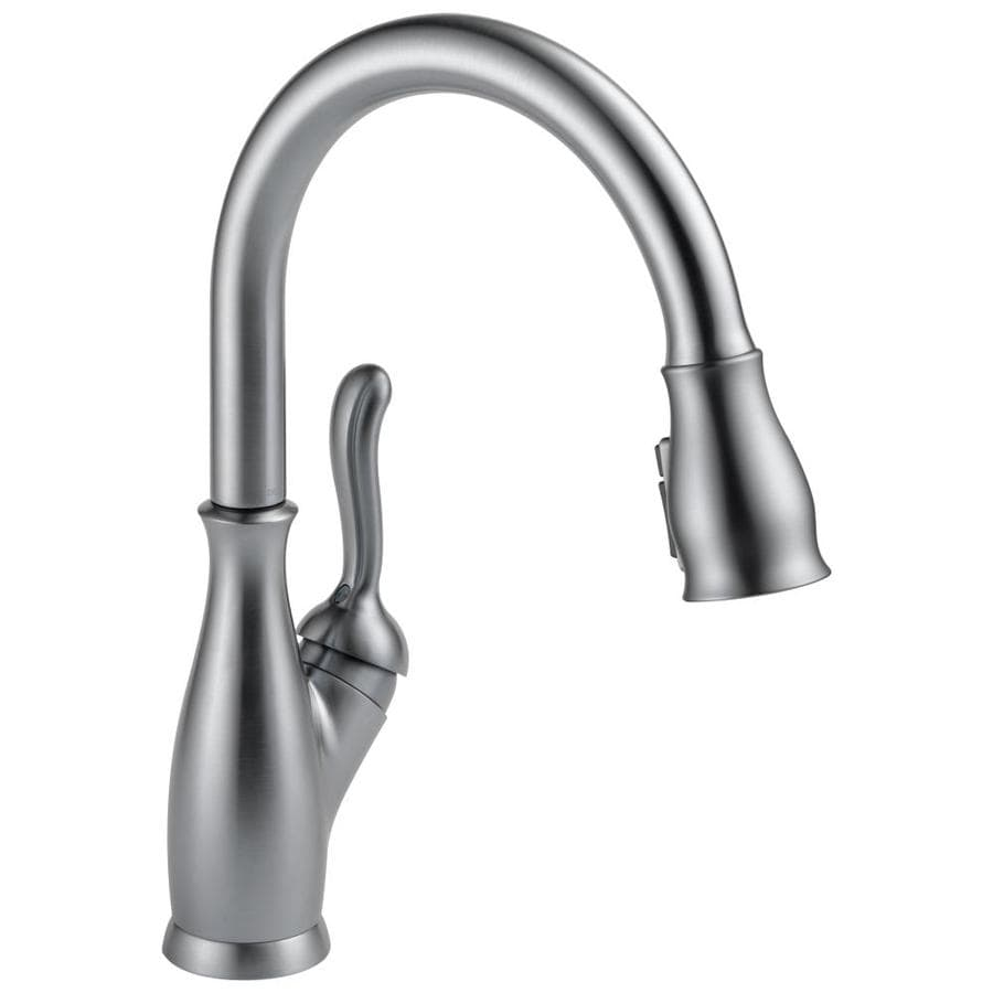 Delta Leland Arctic Stainless 1 Handle Deck Mount Pull Down Kitchen Faucet