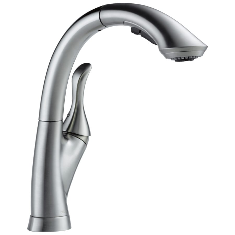 Delta linden single-handle pull-out spray kitchen faucet in chrome
