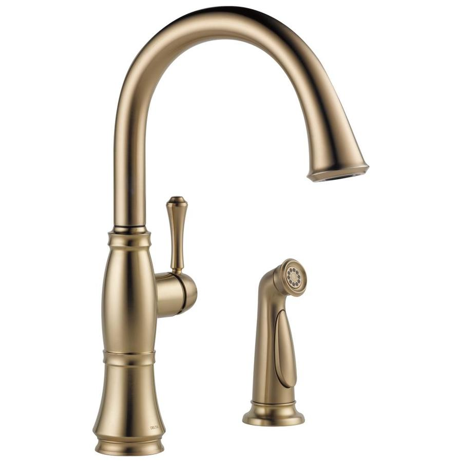 Delta Cassidy Champagne Bronze 1-Handle High-Arc Kitchen Faucet with Side Spray