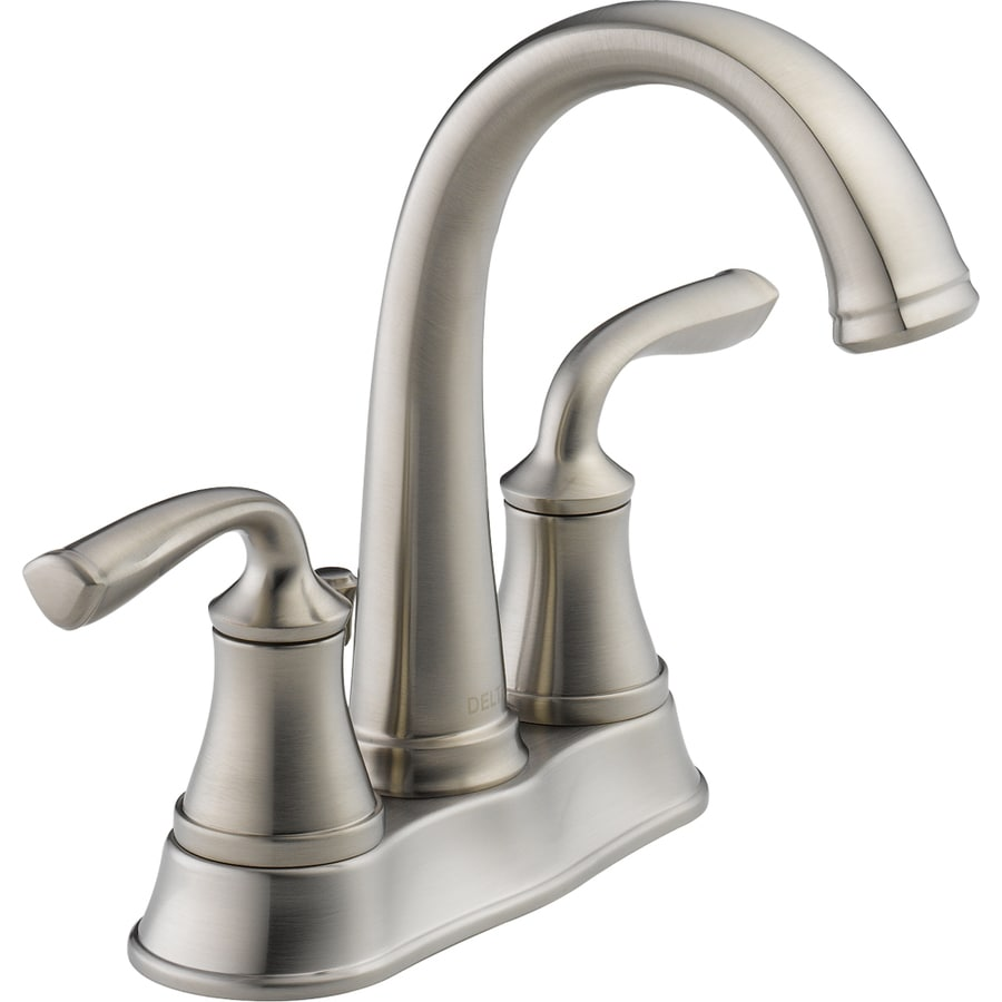 Delta Lorain Stainless 2 Handle 4 In Centerset Watersense Bathroom Faucet Drain Included