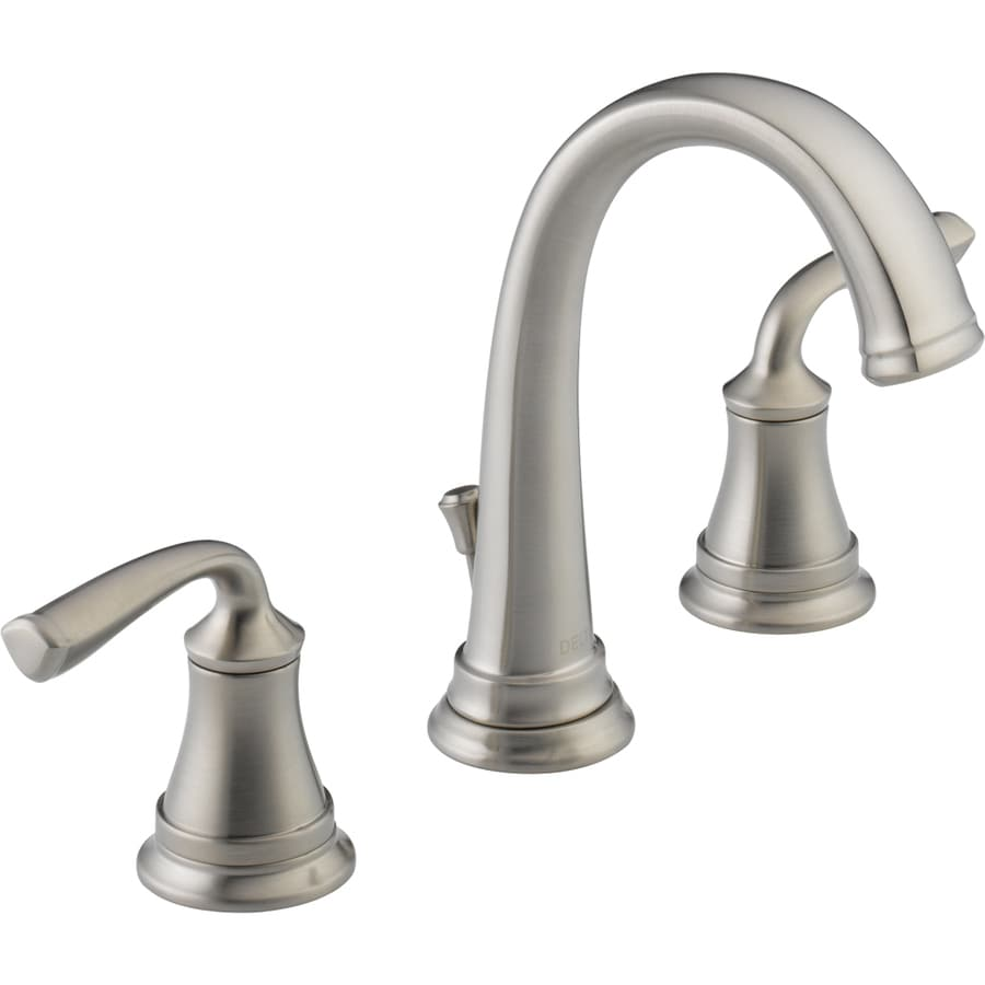 Shop Delta Lorain Stainless 2-Handle Widespread WaterSense Bathroom Faucet (Drain Included) At