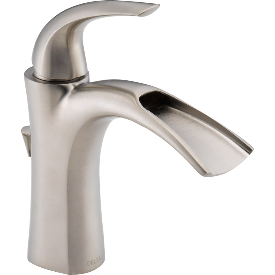 Lowes Bathroom Fixtures shop delta nyla stainless 1-handle single hole watersense bathroom