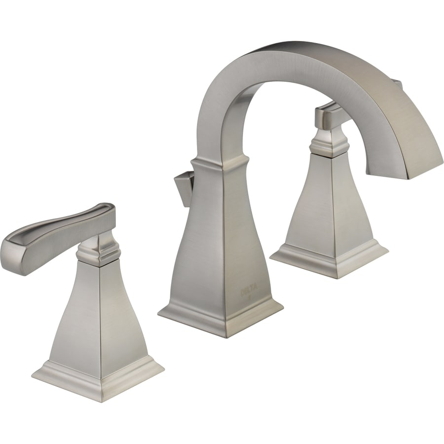 Shop delta olmsted stainless 2 handle widespread watersense bathroom faucet drain included at for Delta widespread bathroom faucet