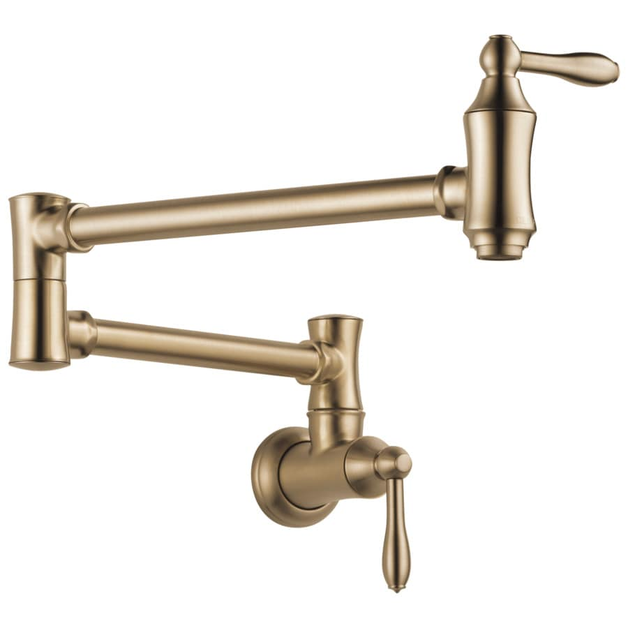 Shop delta cassidy champagne bronze 2 handle wall mount Pot filler faucet