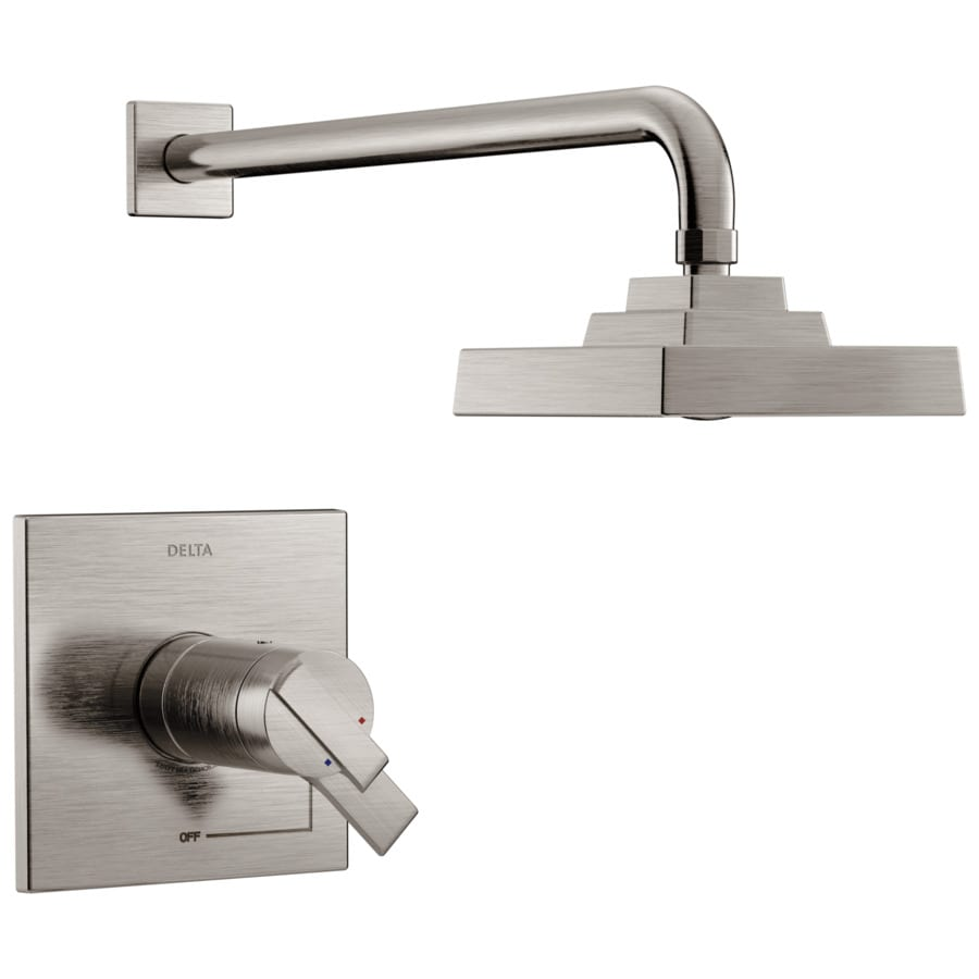 delta ara stainless 1 handle watersense shower faucet trim kit with