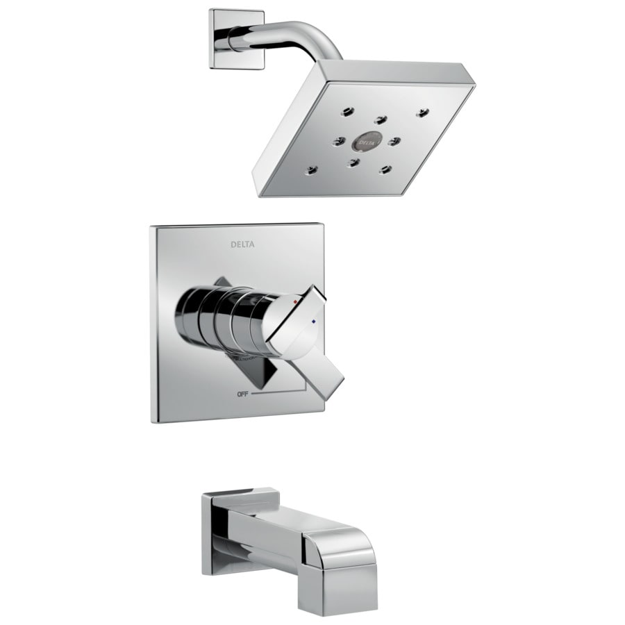 Delta Ara Chrome 1-Handle WaterSense Bathtub and Shower Faucet Trim Kit with Single Function Showerhead