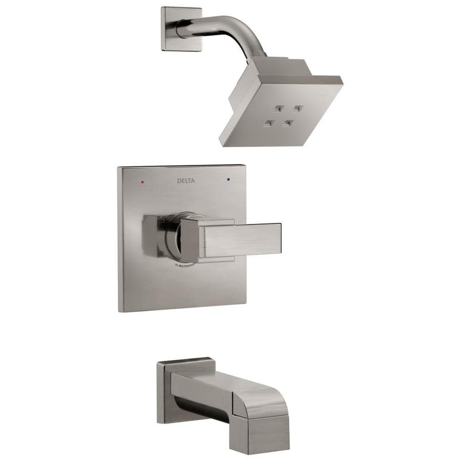 delta ara stainless 1 handle watersense bathtub and shower faucet trim