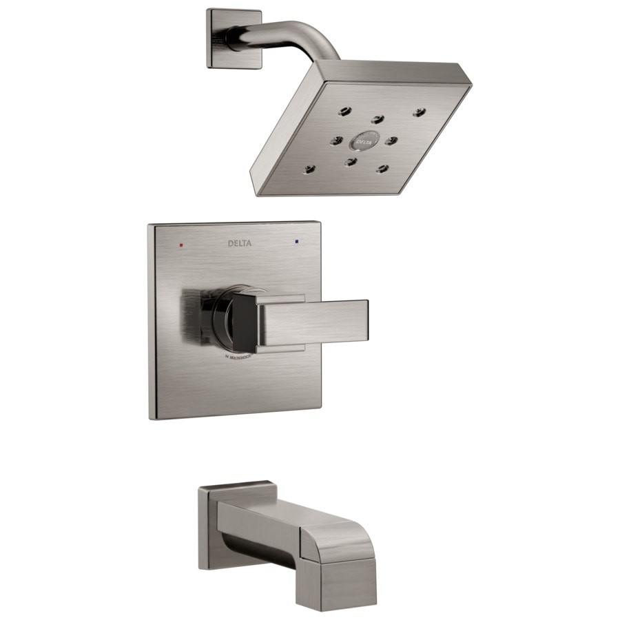 Delta Ara Stainless 1-Handle WaterSense Bathtub and Shower Faucet Trim Kit with Single Function Showerhead