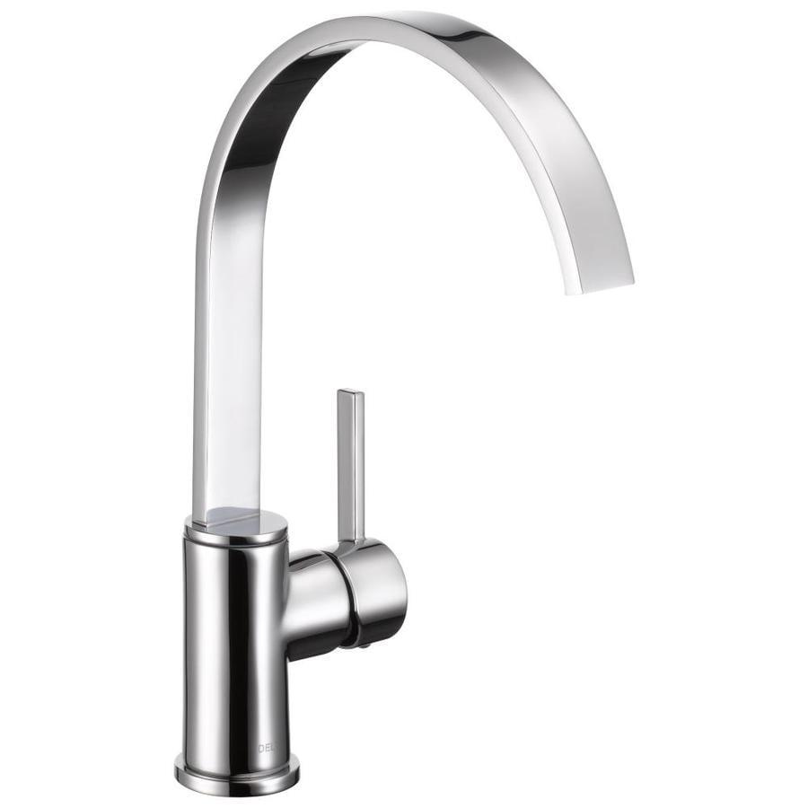 Delta Mandolin Chrome 1-handle High-arc Deck Mount Kitchen Faucet