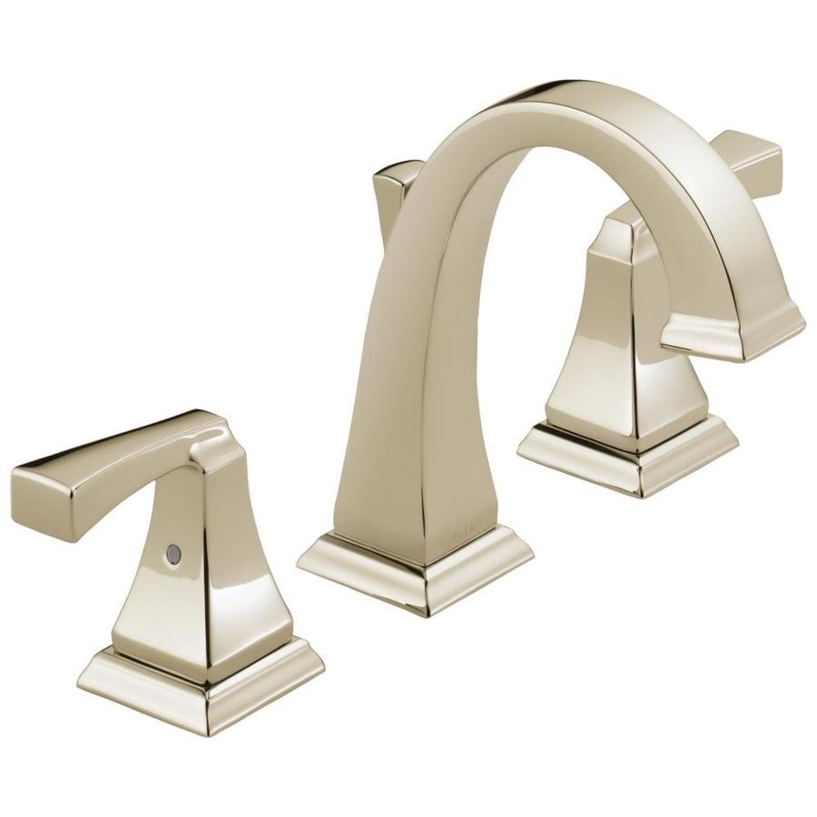 Shop delta dryden polished nickel 2 handle 4 in centerset for Bathroom faucets lowes