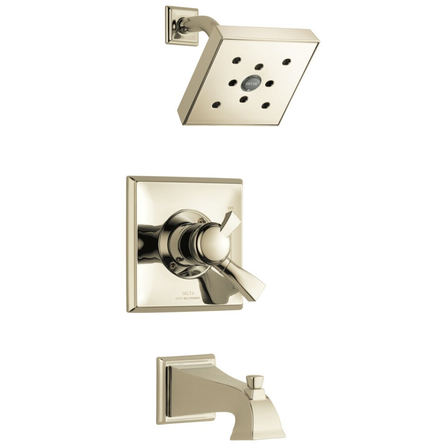 Delta Dryden Polished Nickel 1-Handle WaterSense Bathtub and Shower Faucet Trim Kit with Single Function Showerhead