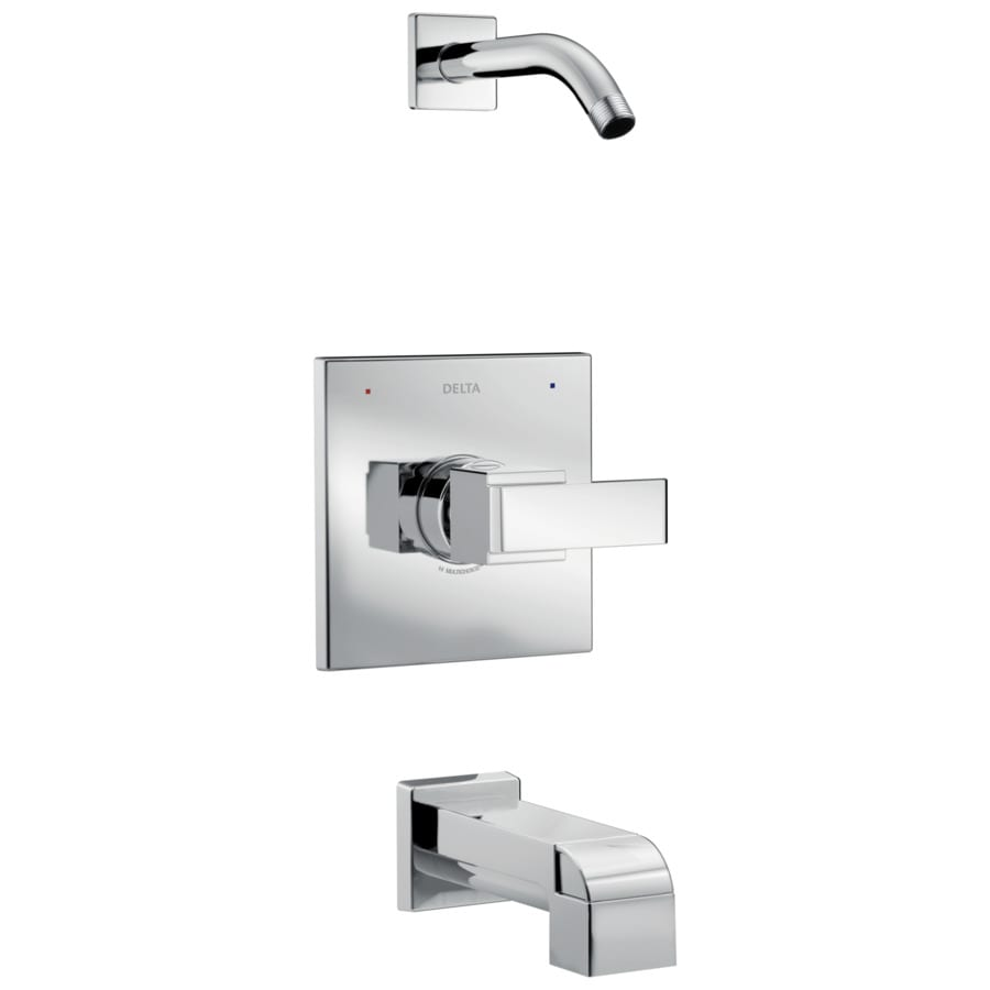 Delta Ara Chrome 1-Handle Bathtub and Shower Faucet Trim Kit with Sold Separately Showerhead